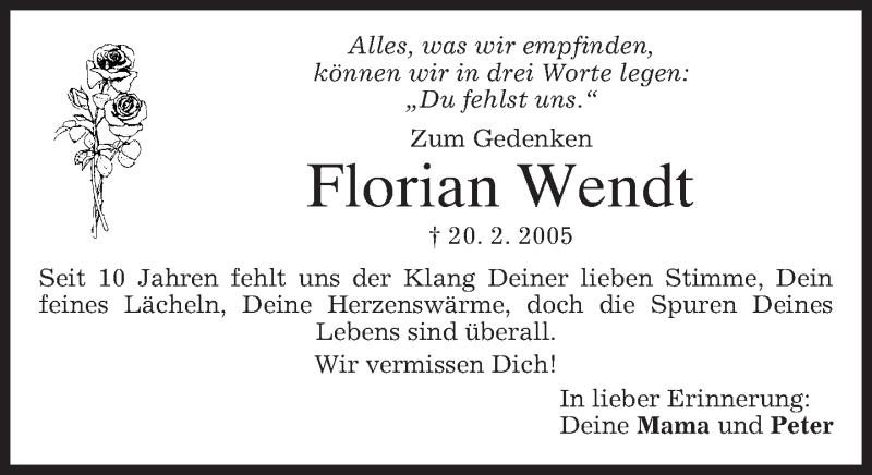 Traueranzeige für Florian Wendt vom 20.02.2015 aus merkurtz