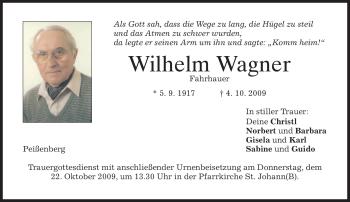 Traueranzeige von Wilhelm Wagner von MERKUR & TZ