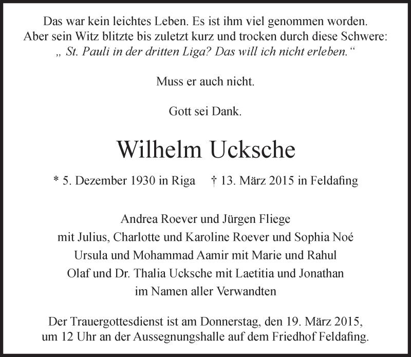 Traueranzeige für Wilhelm Ucksche vom 17.03.2015 aus merkurtz