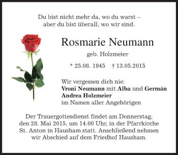 Zur Gedenkseite von Rosmarie