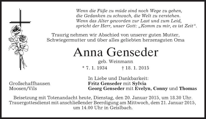 Traueranzeige für Anna Genseder vom 20.01.2015 aus merkurtz
