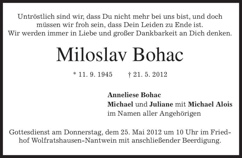 Anzeige von  Miloslav Bohac
