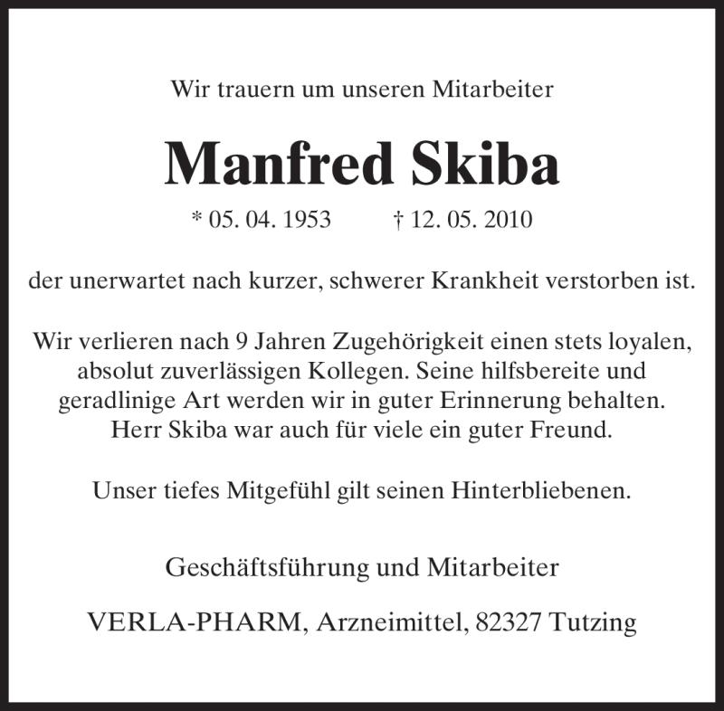 Anzeige von  Manfred Skiba