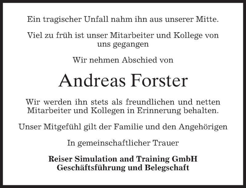 Anzeige von  Andreas Forster