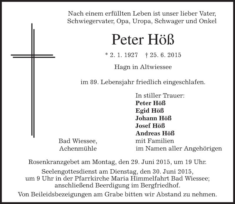 Traueranzeige für Peter Höß vom 27.06.2015 aus merkurtz