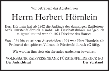 Traueranzeige von Herbert Hörnlein von MERKUR & TZ