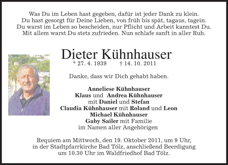 Traueranzeige für Dieter Kühnhauser vom 15.10.2011 aus MERKUR & TZ