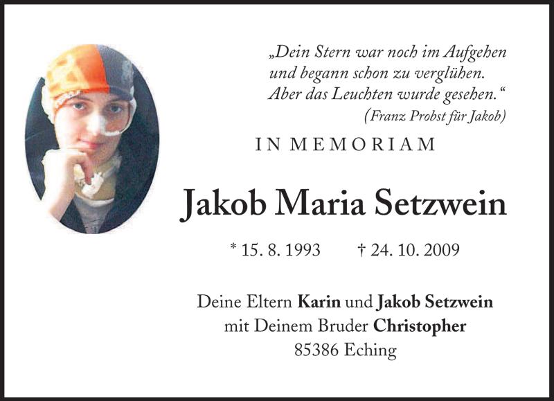 Traueranzeige für Jakob Maria Setzwein vom 24.10.2011 aus MERKUR & TZ
