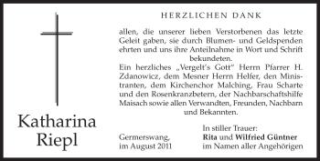 Traueranzeige von Katharina Riepl von MERKUR & TZ