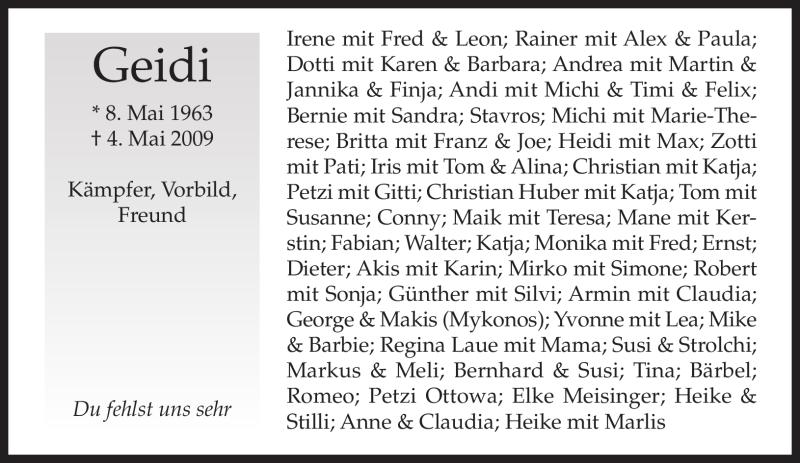 Traueranzeige für Herbert Geidel vom 06.05.2009 aus MERKUR & TZ