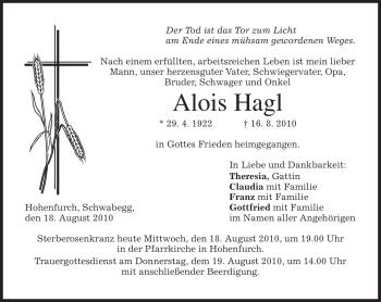 Traueranzeige von Alois Hagl von MERKUR & TZ