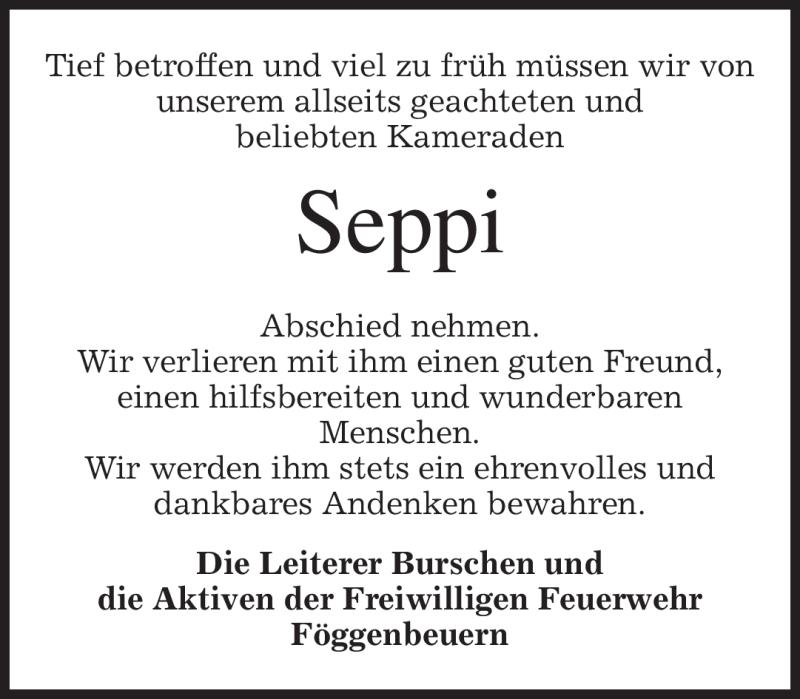 Traueranzeige für Seppi Lichtenegger vom 28.08.2010 aus MERKUR & TZ