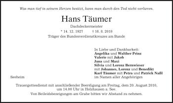 Traueranzeige von Hans Täumer von MERKUR & TZ