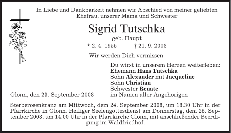 Anzeige von  Sigrid Tutschka