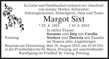Traueranzeige von Margot Sixt von MERKUR & TZ