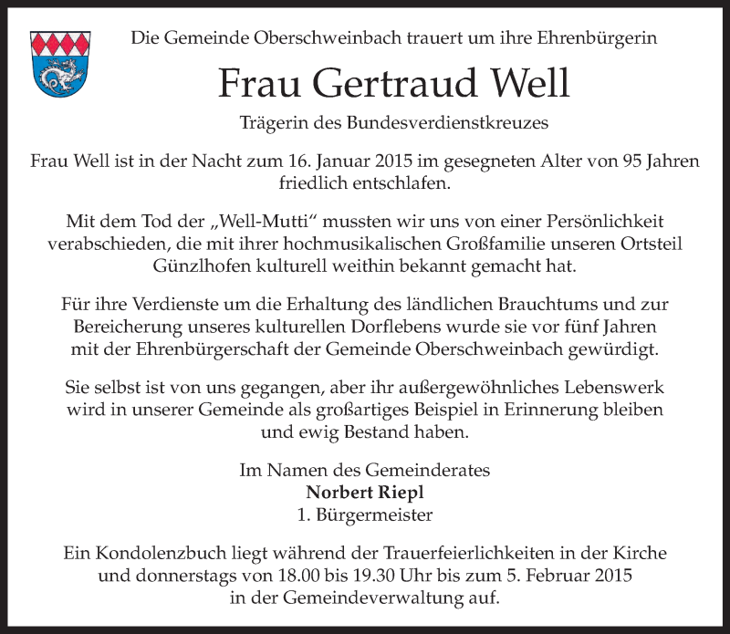 Traueranzeige für Gertraud Well vom 20.01.2015 aus merkurtz