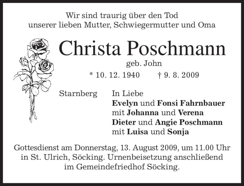 Traueranzeigen Von Christa Poschmann Trauer Merkur De