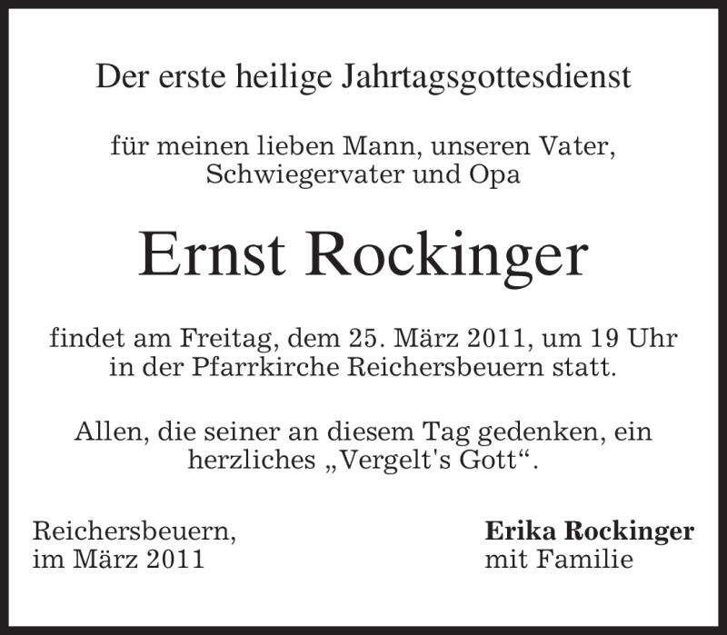 Anzeige von  Ernst Rockinger
