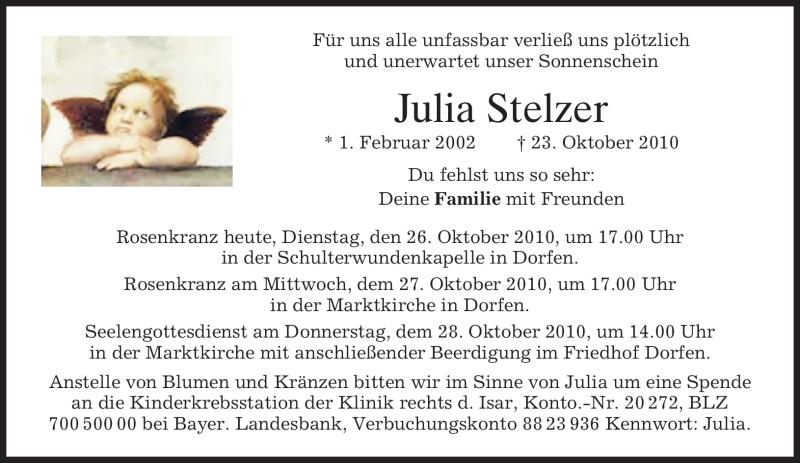 Traueranzeige für Julia Stelzer vom 26.10.2010 aus MERKUR & TZ