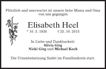 Traueranzeige von Eloisabeth Heel
