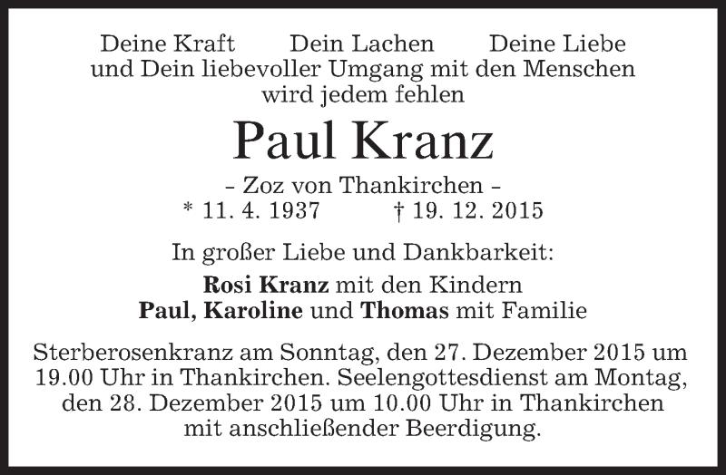 Traueranzeige für Paul Kranz vom 23.12.2015 aus