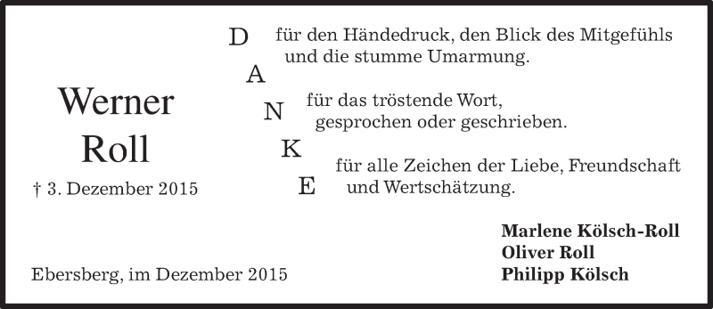 Traueranzeige für Werner Roll vom 19.12.2015 aus