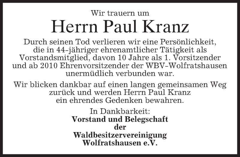 Traueranzeige für Paul Kranz vom 24.12.2015 aus