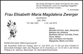 Zur Gedenkseite von Elisabeth Maria Magdalena