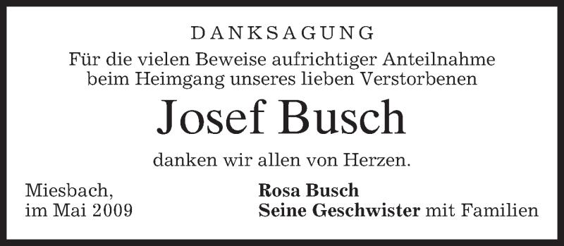 Traueranzeige für Josef Busch vom 09.05.2009 aus Münchener Merkur