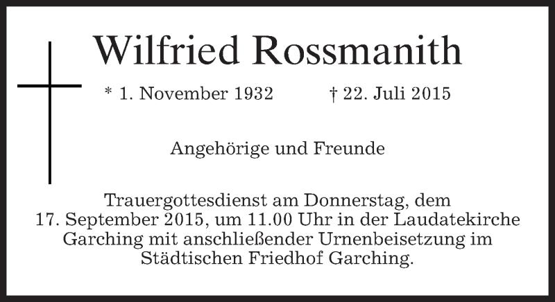 Traueranzeige für Wilfried Rossmanith vom 12.09.2015 aus