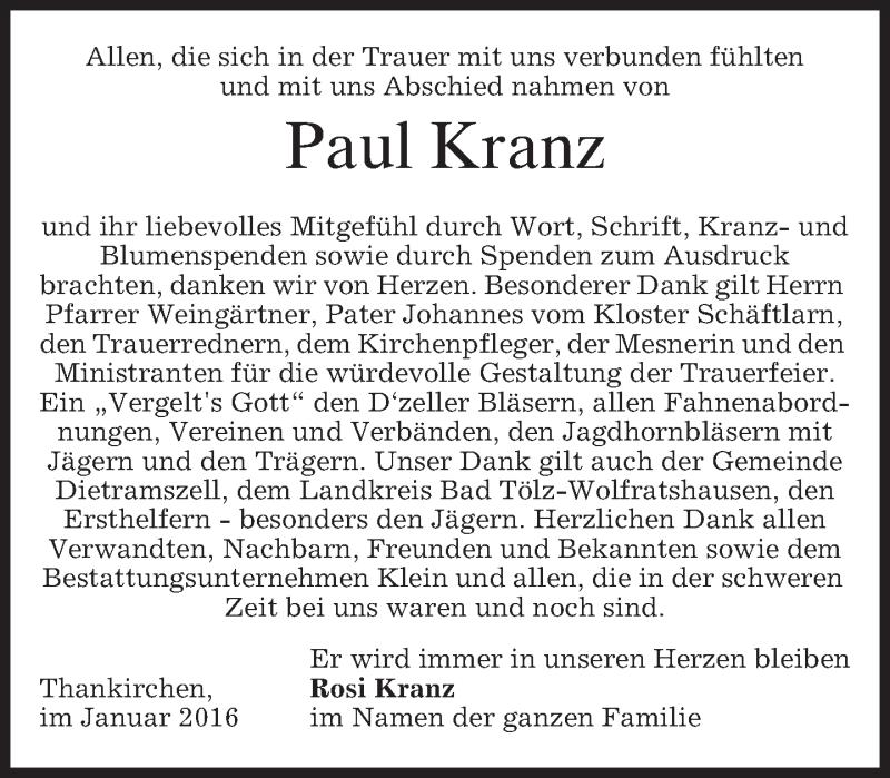 Traueranzeige für Paul Kranz vom 09.01.2016 aus