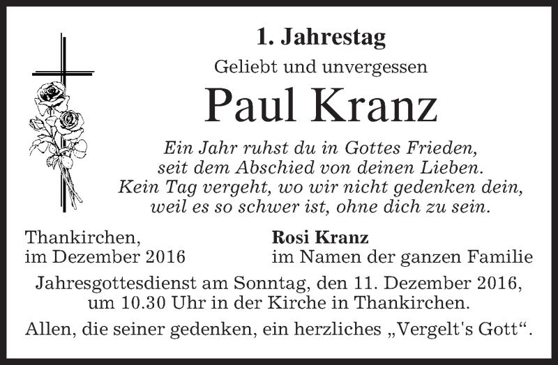 Traueranzeige für Paul Kranz vom 09.12.2016 aus merkurtz