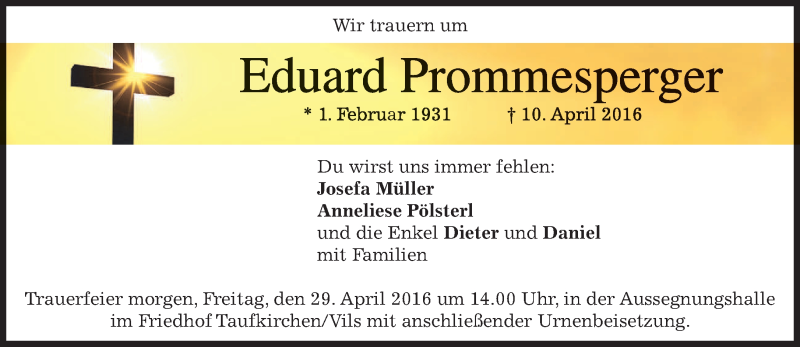 Traueranzeige für Eduard Prommesperger vom 28.04.2016 aus merkurtz