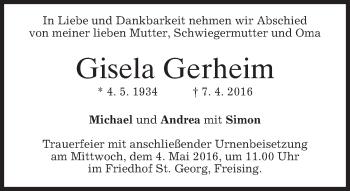 Traueranzeige von Gisela Gerheim von merkurtz