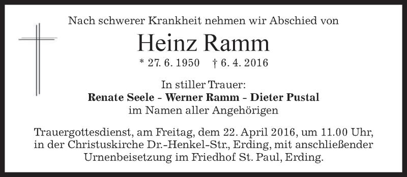 Traueranzeige für Heinz Ramm vom 16.04.2016 aus merkurtz
