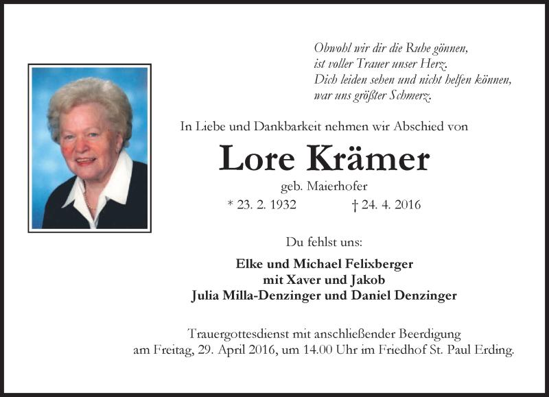 Traueranzeige für Lore Krämer vom 27.04.2016 aus merkurtz