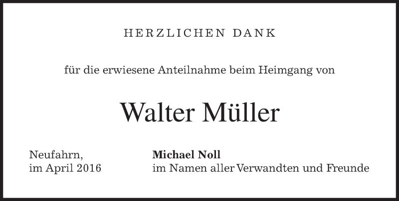 Traueranzeige für Walter Müller vom 30.04.2016 aus merkurtz