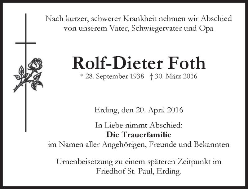 Traueranzeige für Rolf-Dieter Foth vom 20.04.2016 aus merkurtz