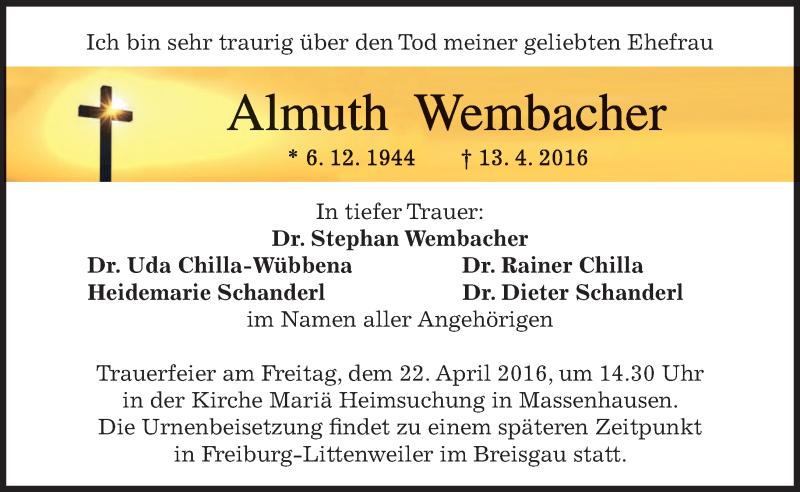 Traueranzeige für Almuth Wembacher vom 16.04.2016 aus merkurtz