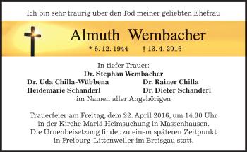 Traueranzeige von Almuth Wembacher von merkurtz