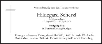 Traueranzeige von Hildegard Scherzl von merkurtz