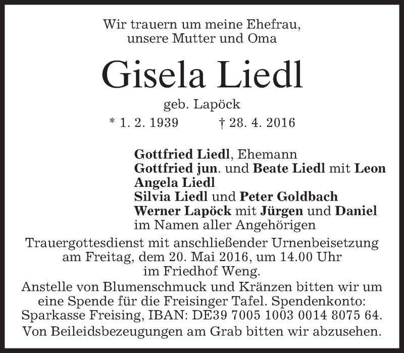 Traueranzeige für Gisela Liedl vom 18.05.2016 aus merkurtz