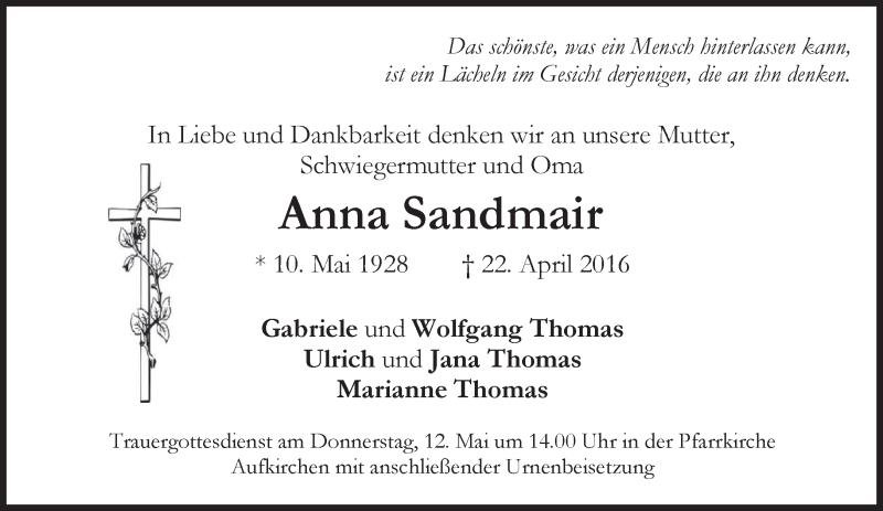 Traueranzeige für Anna Sandmair vom 11.05.2016 aus merkurtz