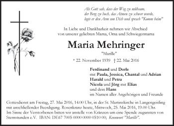 Traueranzeige von Maria Mehrfinger von merkurtz