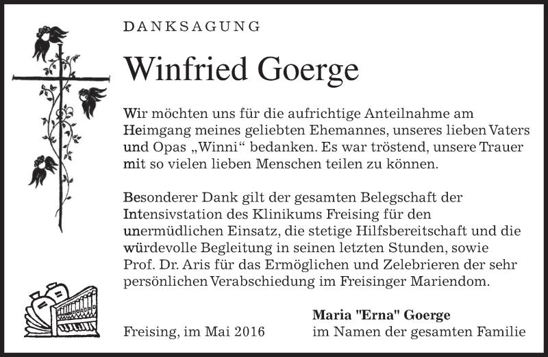 Anzeige von  Winfried Goerge