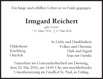 Traueranzeige von Irmgard Reichert von merkurtz