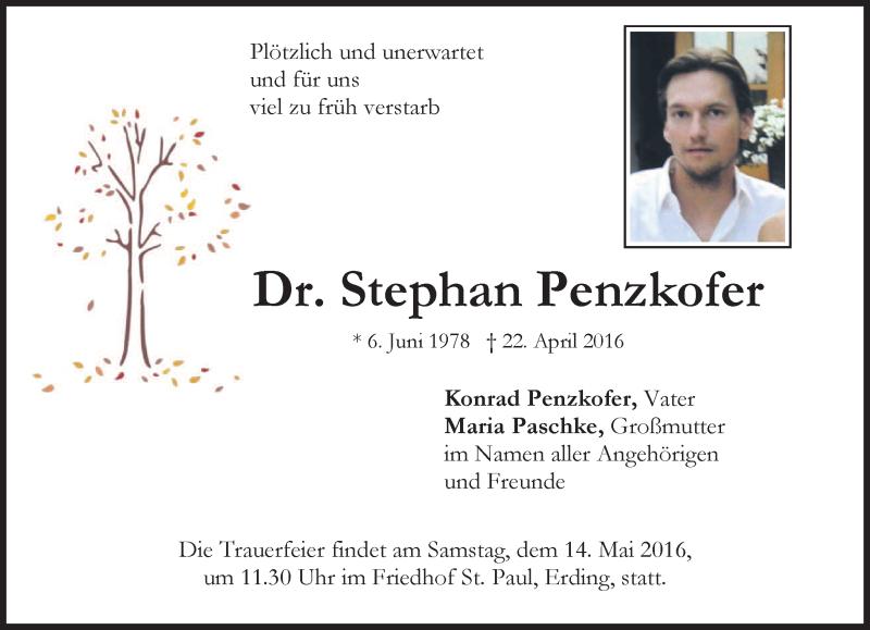Traueranzeige für Stephan Penzkofer vom 07.05.2016 aus merkurtz