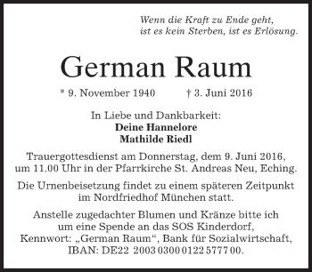 Traueranzeige von German Raum von merkurtz