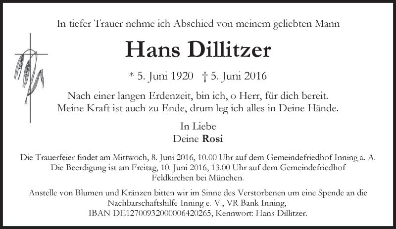 Traueranzeige für Hans Dillitzer vom 07.06.2016 aus merkurtz