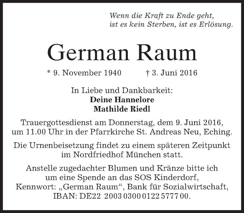Traueranzeige für German Raum vom 08.06.2016 aus merkurtz